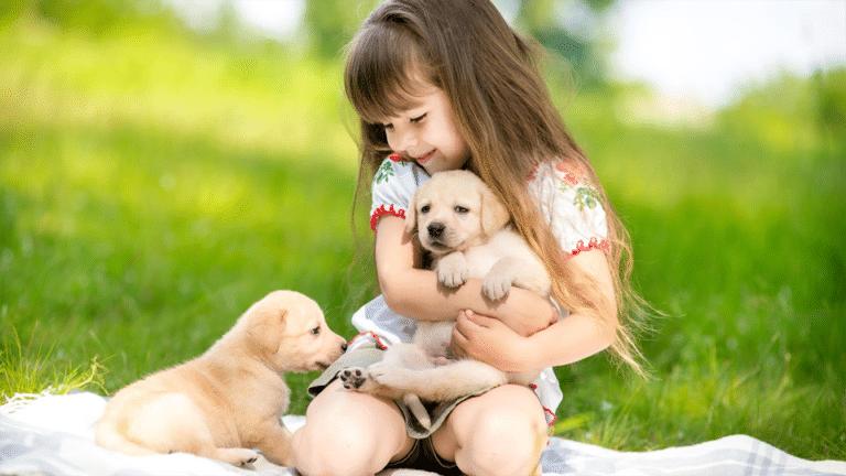 Fetiță jucându-se cu doi cățeluși pe o pătură în iarbă.