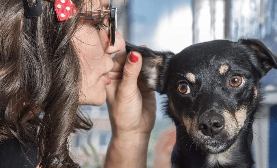 Femeie șoptind în urechea unui câine negru.