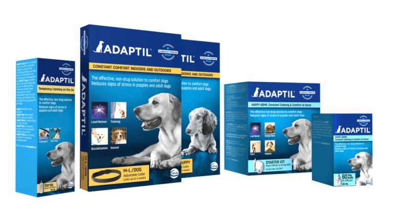 Cutii cu diferite produse Adaptyl pentru caini.