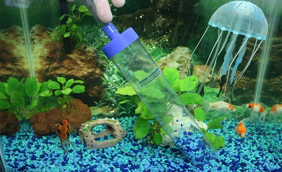 Aspirator de substrat intr-un acvariu.